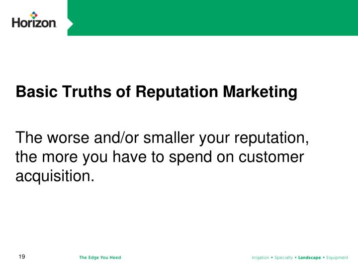 Basic Truths of Reputation Marketing