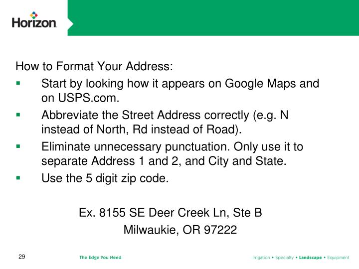 How to Format Your Address: