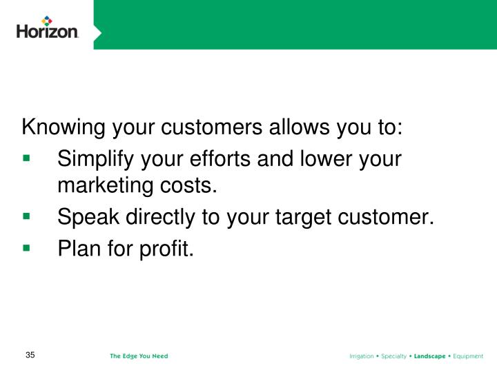 Knowing your customers allows you to: