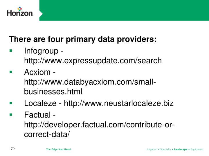 There are four primary data providers: