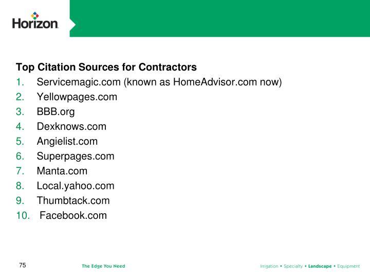 Top Citation Sources for Contractors