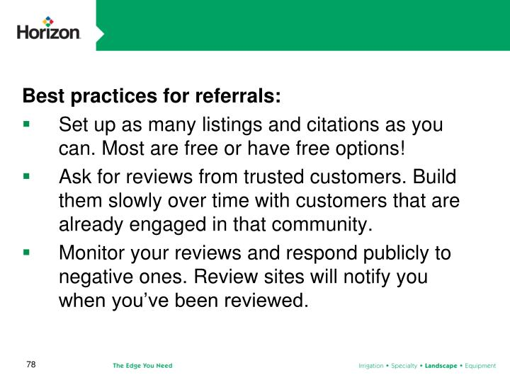 Best practices for referrals: