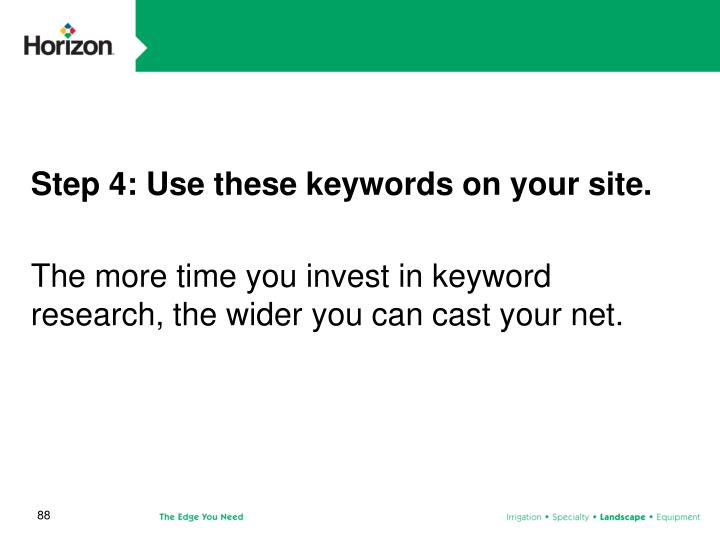Step 4: Use these keywords on your site.
