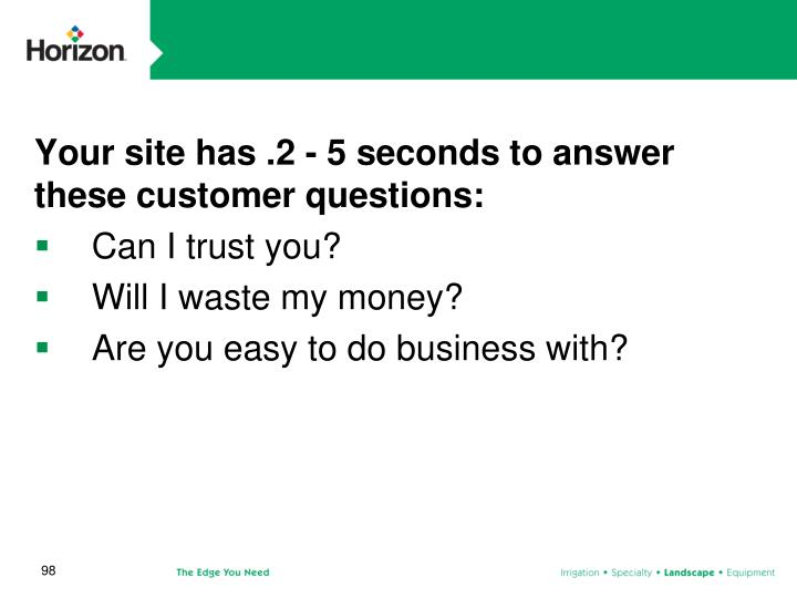 Your site has .2 - 5 seconds to answer these customer questions: