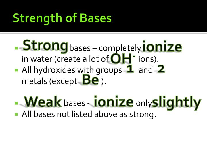 Strength of Bases