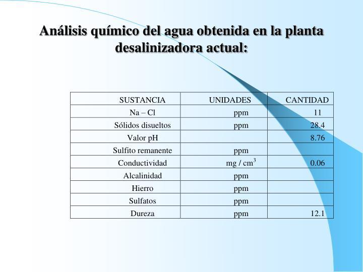 Análisis químico del agua obtenida en la planta desalinizadora actual: