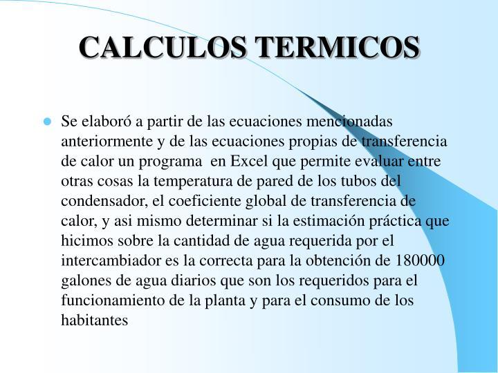 CALCULOS TERMICOS