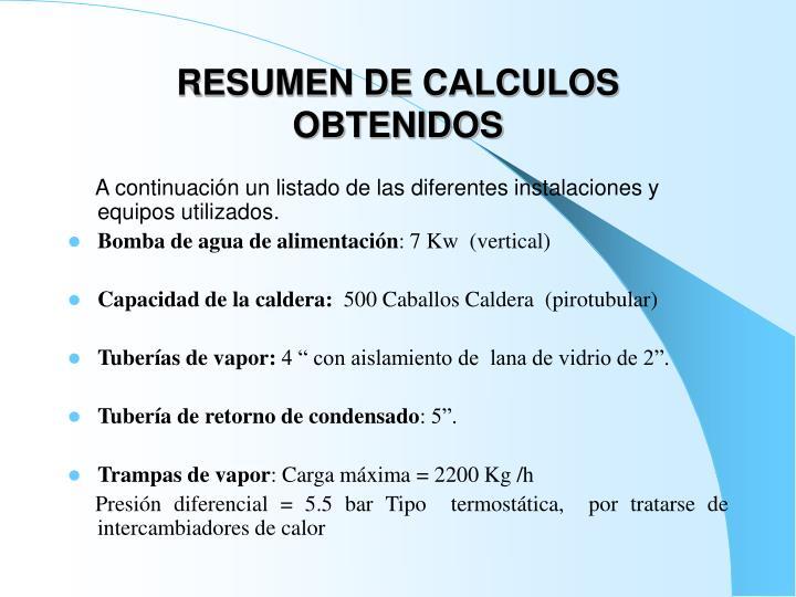 RESUMEN DE CALCULOS OBTENIDOS