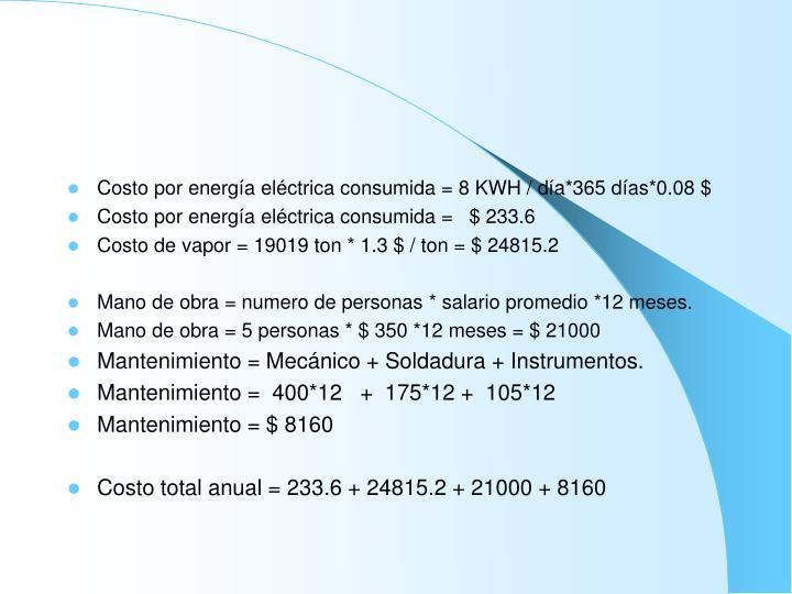 Costo por energía eléctrica consumida = 8 KWH / día*365 días*0.08 $