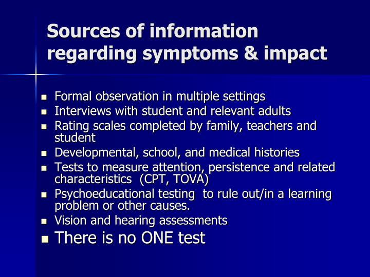Sources of information regarding symptoms & impact