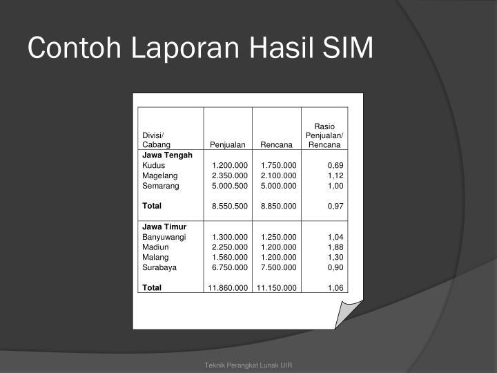 Contoh Laporan Hasil SIM