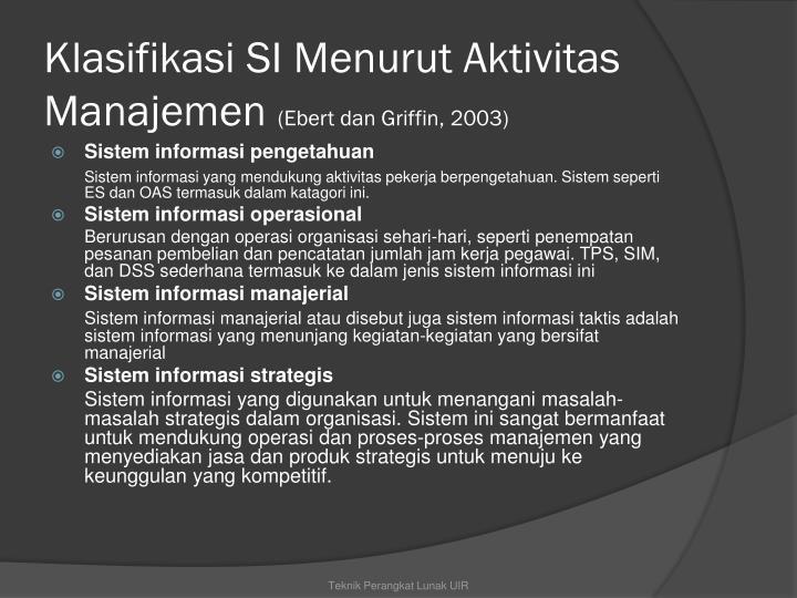 Klasifikasi SI Menurut Aktivitas Manajemen