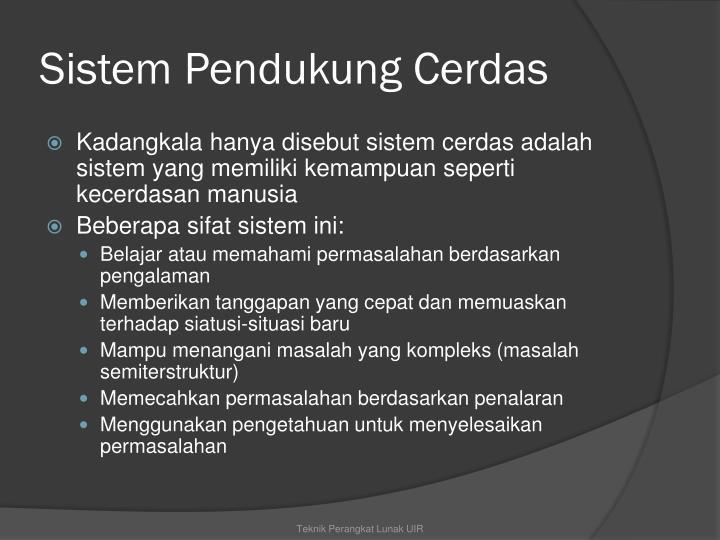 Sistem Pendukung Cerdas