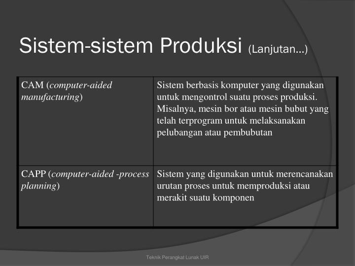 Sistem-sistem Produksi