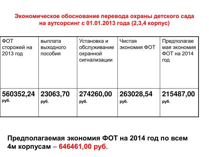 Экономическое обоснование перевода охраны детского сада на аутсорсинг с 01.01.2013 года (2,3,4 корпус)