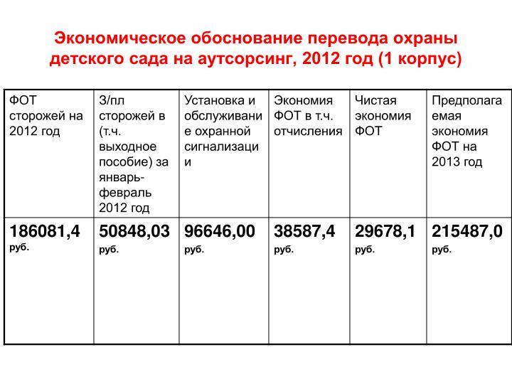 Экономическое обоснование перевода охраны детского сада на аутсорсинг, 2012 год (1 корпус)