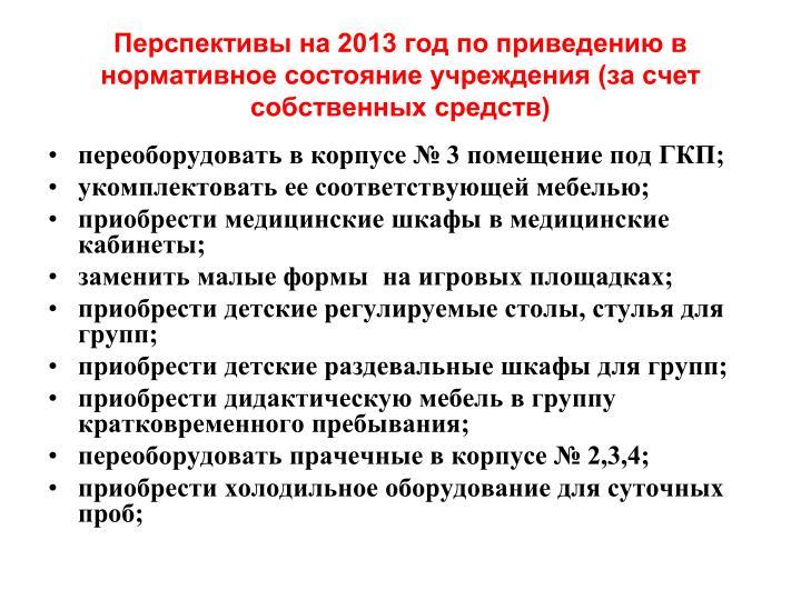 Перспективы на 2013 год по приведению в нормативное состояние учреждения (за счет собственных средств)
