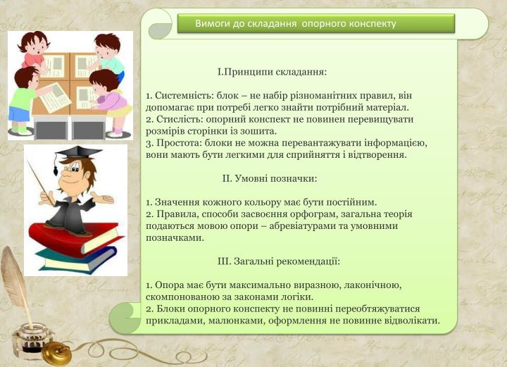 І.Принципи складання: