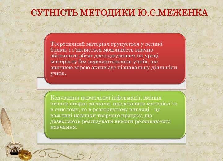 СУТНІСТЬ МЕТОДИКИ Ю.С.МЕЖЕНКА