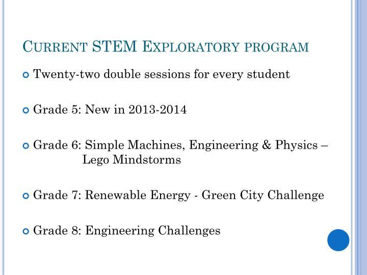 Current STEM Exploratory program