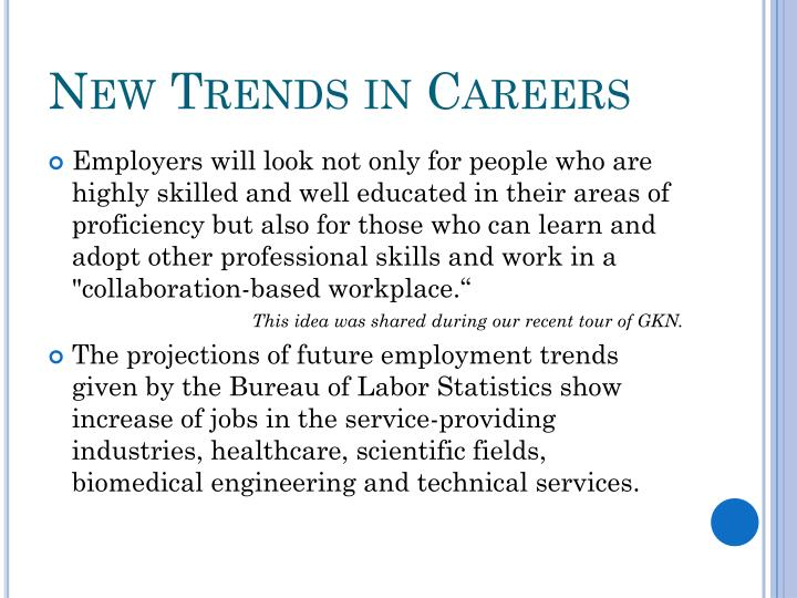 New Trends in Careers
