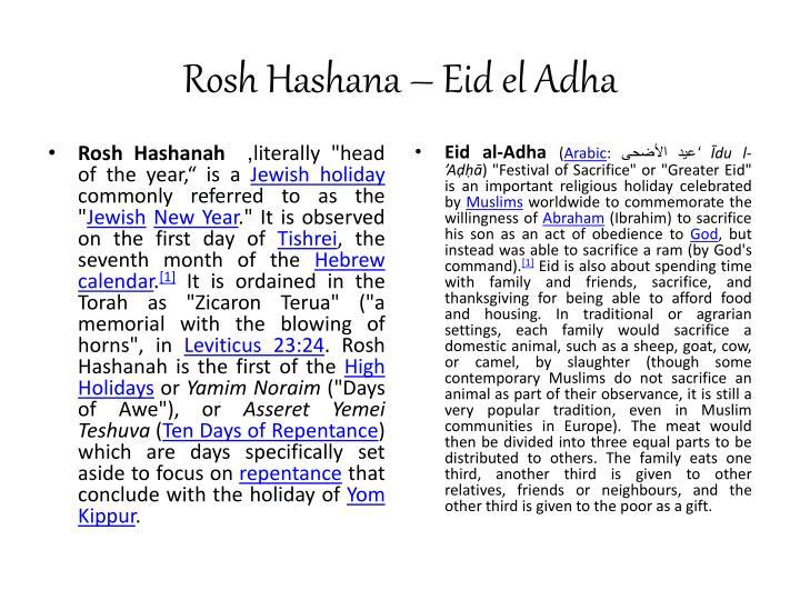 Rosh Hashana – Eid el Adha