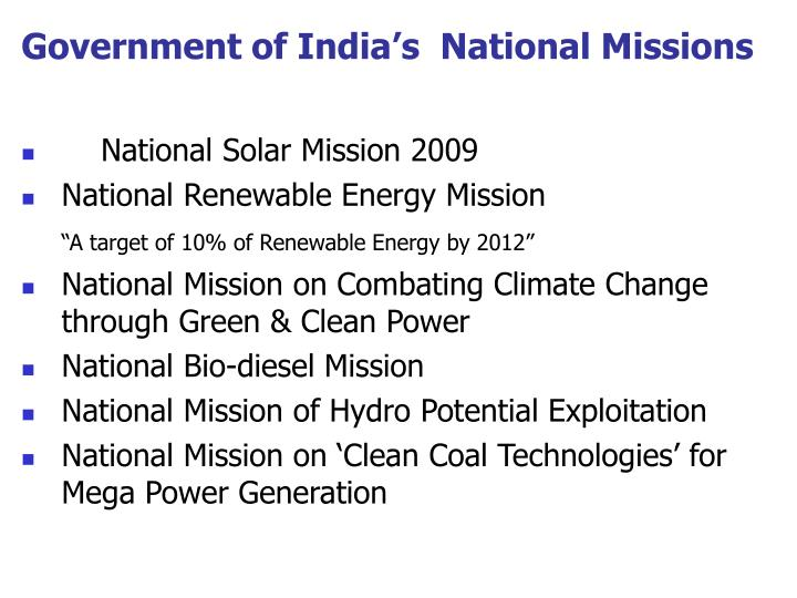 Government of India's  National Missions