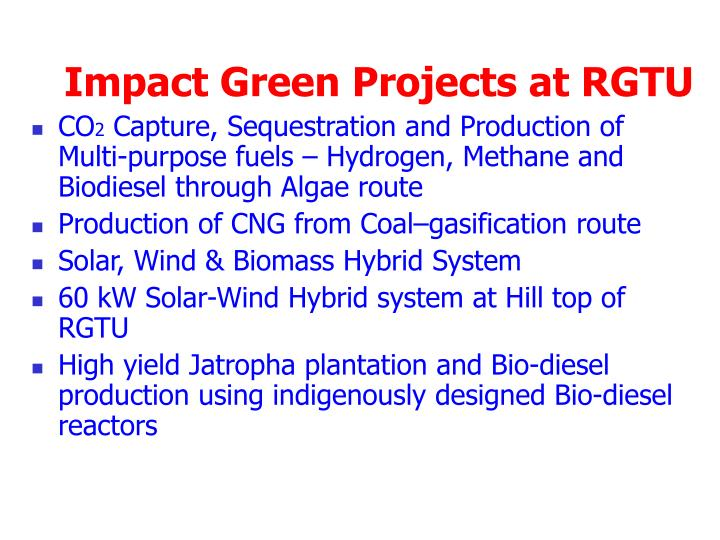 Impact Green Projects at RGTU