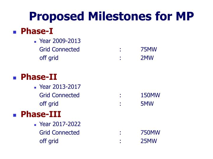 Proposed Milestones for MP