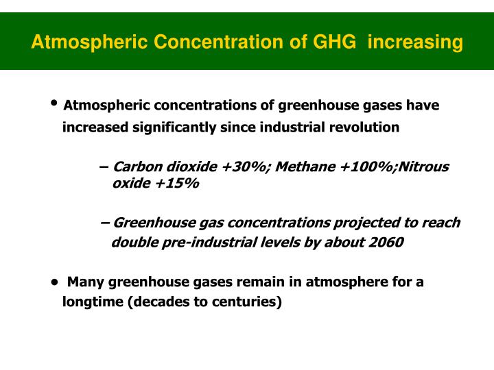 Atmospheric Concentration of GHG  increasing