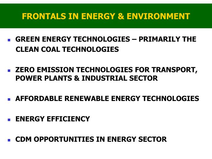 FRONTALS IN ENERGY & ENVIRONMENT