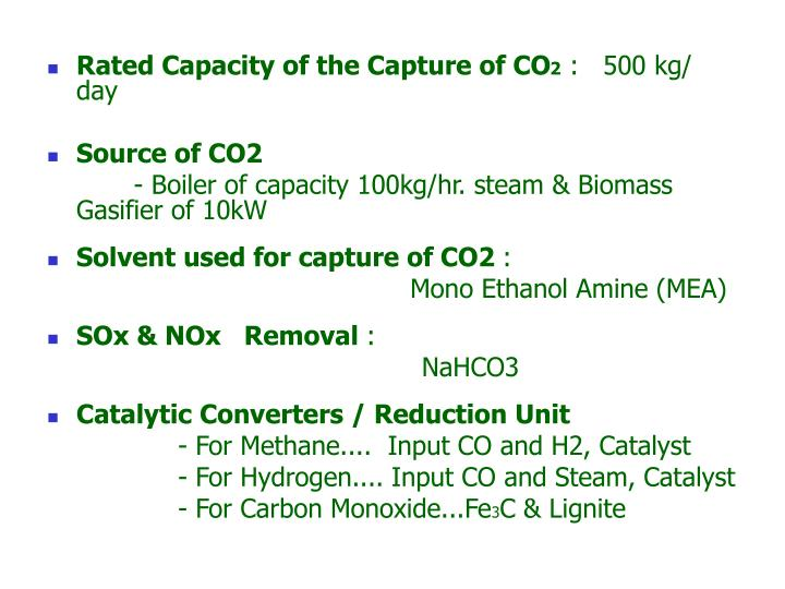 Rated Capacity of the Capture of CO