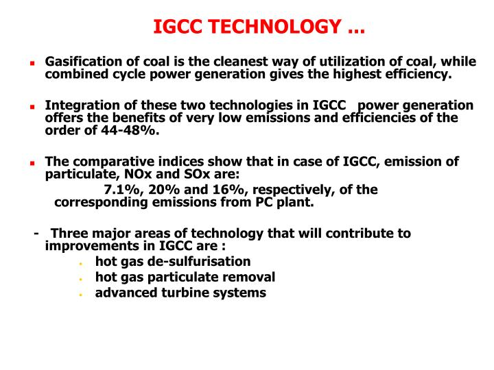 IGCC TECHNOLOGY ...