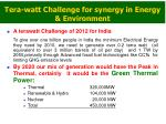 tera watt challenge for synergy in energy environment