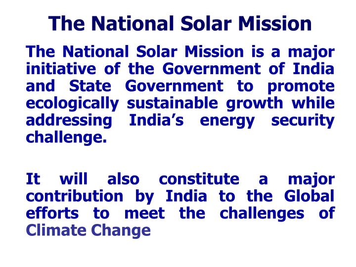 The National Solar Mission