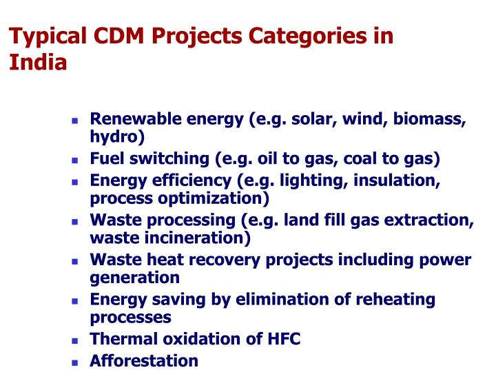 Typical CDM Projects Categories in India