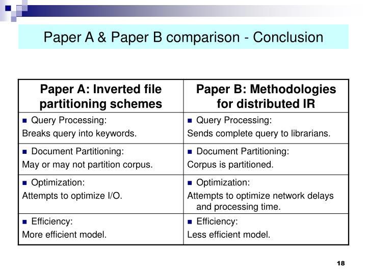 Paper A & Paper B comparison - Conclusion
