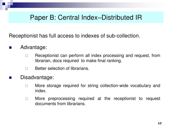 Paper B: Central Index–Distributed IR