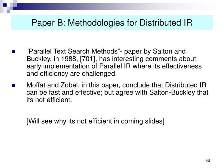 Paper B: Methodologies for Distributed IR