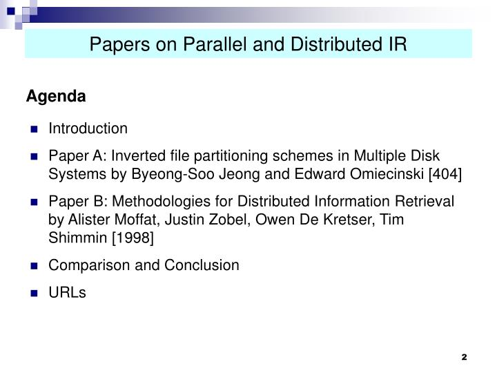 Papers on parallel and distributed ir