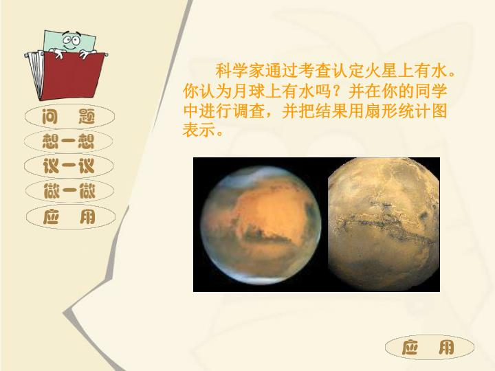 科学家通过考查认定火星上有水。你认为月球上有水吗?并在你的同学中进行调查,并把结果用扇形统计图表示。
