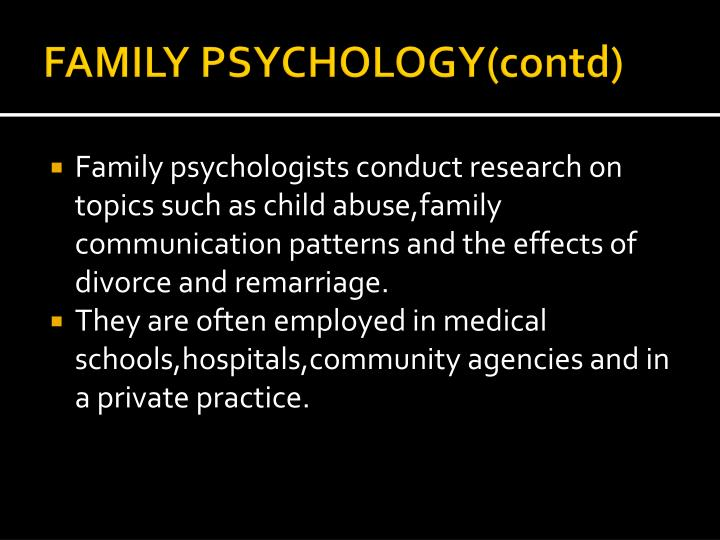 FAMILY PSYCHOLOGY(