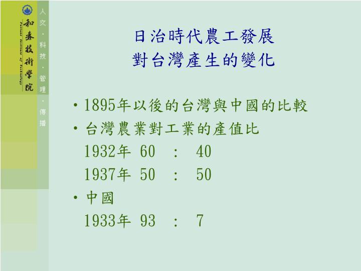 日治時代農工發展