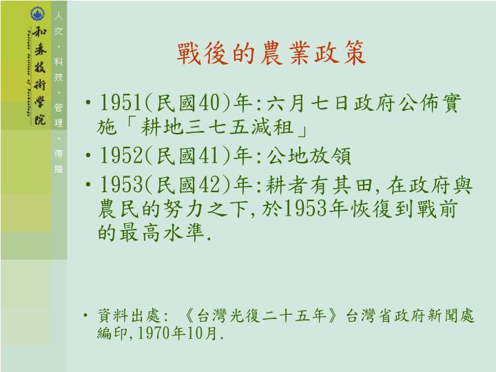 戰後的農業政策