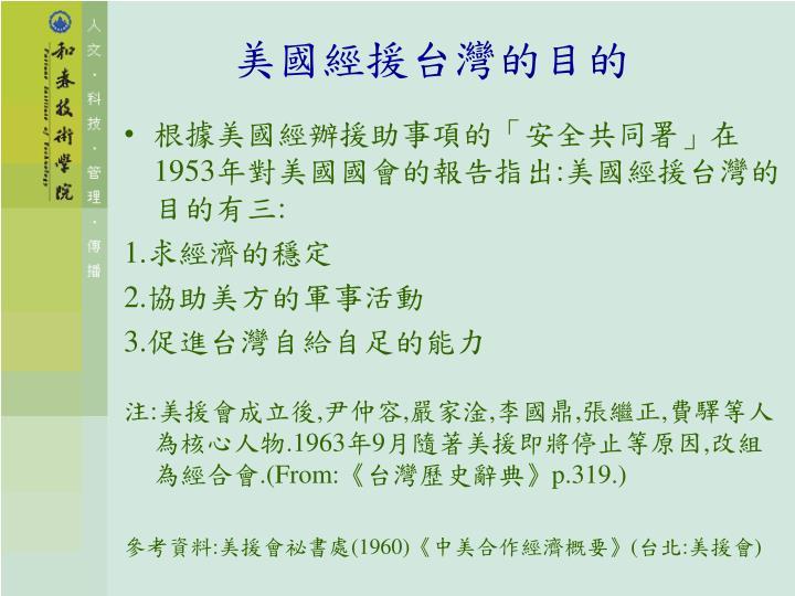 美國經援台灣的目的