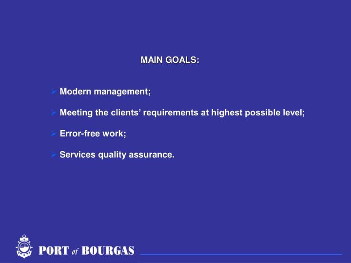 MAIN GOALS: