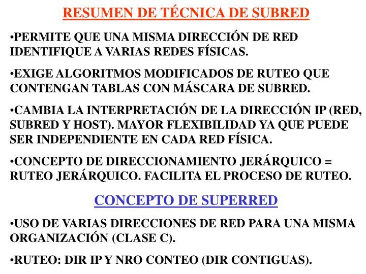 RESUMEN DE TÉCNICA DE SUBRED