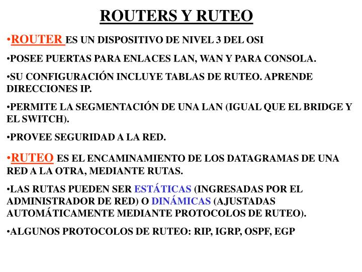 ROUTERS Y RUTEO