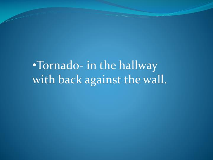 Tornado- in the hallway with back against the wall.