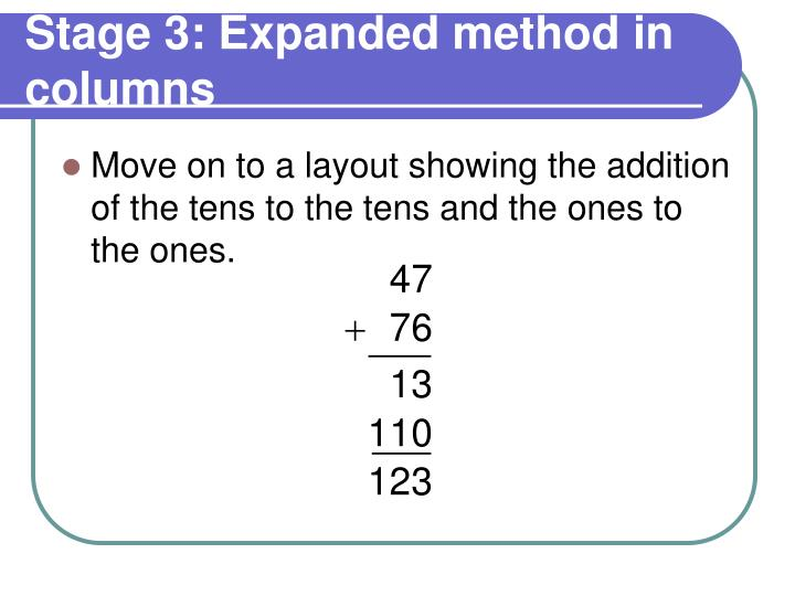 Stage 3: Expanded method in columns
